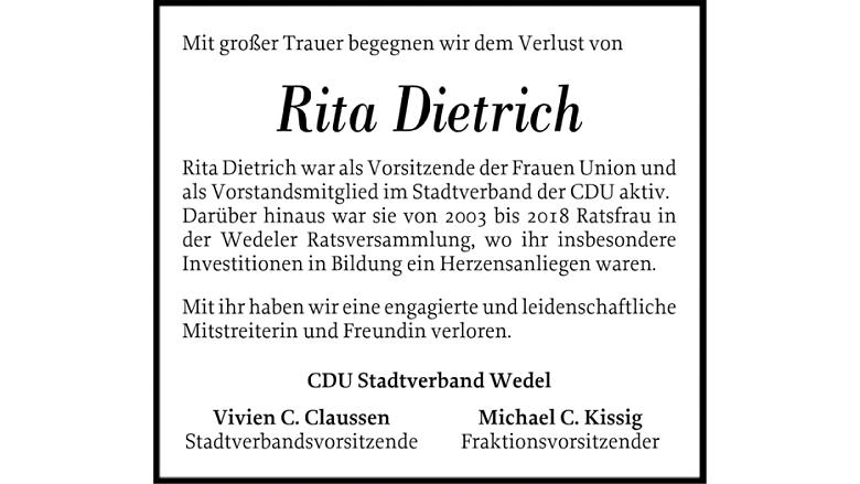 Traueranzeige Rita Dietrich